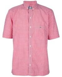 Chemise à manches courtes en vichy rouge Lacoste