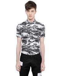 Chemise à manches courtes géométrique blanche et noire
