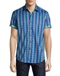 Chemise à manches courtes géométrique bleue