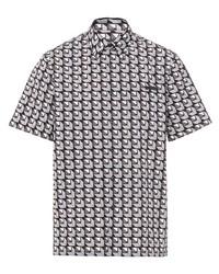 Chemise à manches courtes géométrique grise Prada