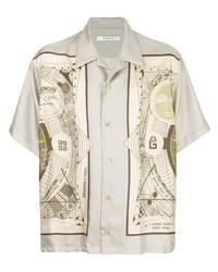 Chemise à manches courtes imprimée beige Givenchy