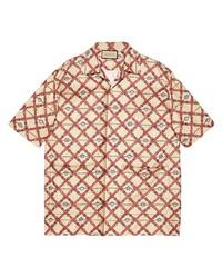 Chemise à manches courtes imprimée beige Gucci