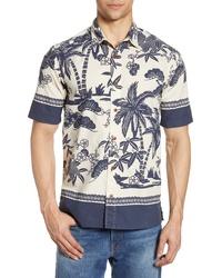 Chemise à manches courtes imprimée blanc et bleu marine