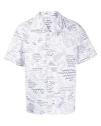 Chemise à manches courtes imprimée blanc et bleu marine Kenzo