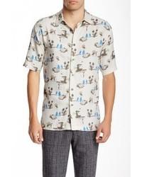 Chemise à manches courtes imprimée blanc et bleu