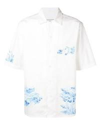 Chemise à manches courtes imprimée blanc et bleu Ami Paris