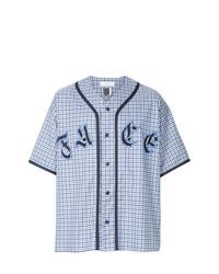 Chemise à manches courtes imprimée blanc et bleu Facetasm