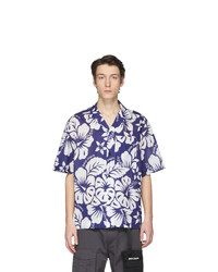 Chemise à manches courtes imprimée blanc et bleu Palm Angels