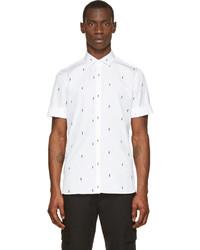Chemise à manches courtes imprimée blanche et noire