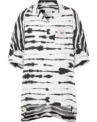Chemise à manches courtes imprimée blanche et noire Burberry