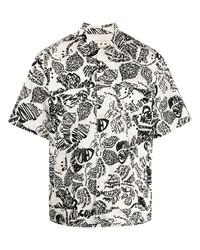 Chemise à manches courtes imprimée blanche et noire Marni