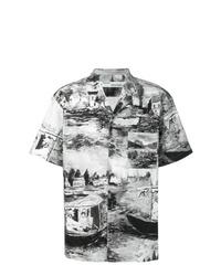 Chemise à manches courtes imprimée blanche et noire Off-White