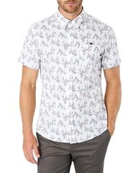 Chemise à manches courtes imprimée blanche