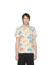 Chemise à manches courtes imprimée blanche Gucci