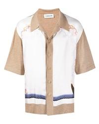 Chemise à manches courtes imprimée blanche Lanvin
