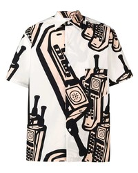 Chemise à manches courtes imprimée blanche Maison Margiela
