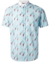 Chemise à manches courtes imprimée bleu clair Commune De Paris