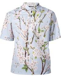 Chemise à manches courtes imprimée bleu clair Dolce & Gabbana