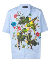 Chemise à manches courtes imprimée bleu clair DSQUARED2