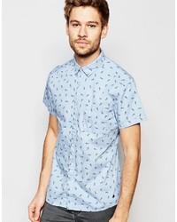 Chemise à manches courtes imprimée bleu clair Esprit