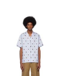 Chemise à manches courtes imprimée bleu clair Gucci
