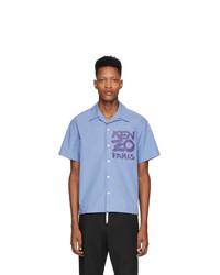 Chemise à manches courtes imprimée bleu clair Kenzo