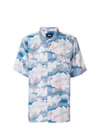 Chemise à manches courtes imprimée bleu clair Stussy