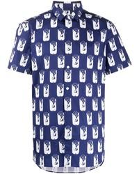 Chemise à manches courtes imprimée bleu marine et blanc Kenzo