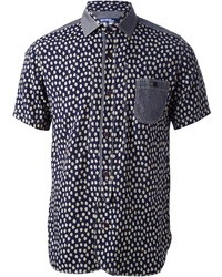 Chemise à manches courtes imprimée bleu marine Comme des Garcons