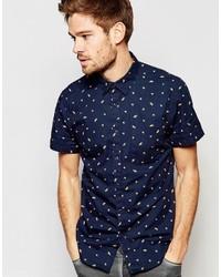 Chemise à manches courtes imprimée bleu marine Esprit