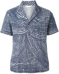 Chemise à manches courtes imprimée bleu marine Folk