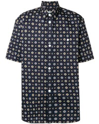 Chemise à manches courtes imprimée bleu marine Kenzo