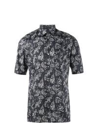 Chemise à manches courtes imprimée bleu marine Lanvin