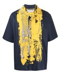 Chemise à manches courtes imprimée bleu marine Marni