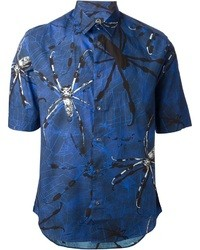 Chemise à manches courtes imprimée bleu marine McQ by Alexander McQueen