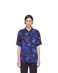 Chemise à manches courtes imprimée bleu marine Paul Smith