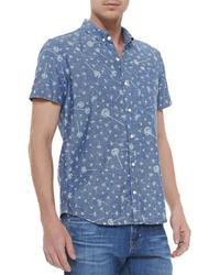 Chemise à manches courtes imprimée bleue