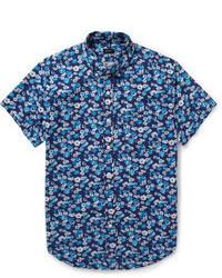 Chemise à manches courtes imprimée bleue J.Crew