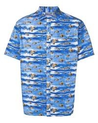 Chemise à manches courtes imprimée bleue Lanvin