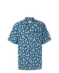 Chemise à manches courtes imprimée bleue Marni