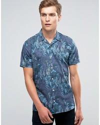 Chemise à manches courtes imprimée bleue Minimum