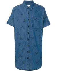 Chemise à manches courtes imprimée bleue Vans