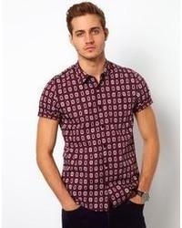 Chemise à manches courtes imprimée bordeaux