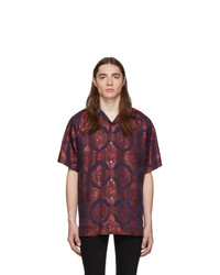 Chemise à manches courtes imprimée bordeaux Gucci