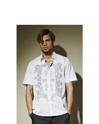 Chemise à manches courtes imprimée cachemire blanche