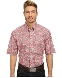 Chemise à manches courtes imprimée cachemire rose