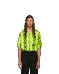 Chemise à manches courtes imprimée chartreuse Off-White