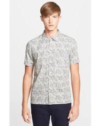 Chemise à manches courtes imprimée grise