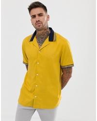 Chemise à manches courtes imprimée jaune ASOS DESIGN