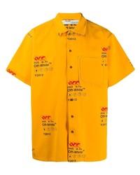 Chemise à manches courtes imprimée jaune Off-White
